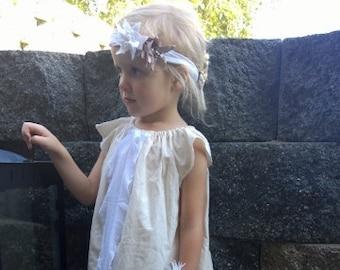 White dress, baptism dress, cream dress, girls white dress with ruffle, flower girl dress, girls dress, natural dress, boho dress