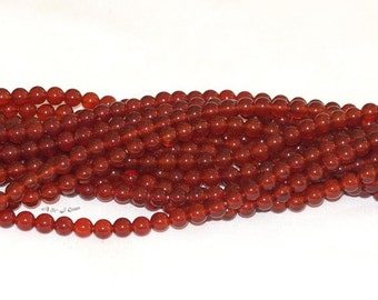 "Carnelian 6mm Round Gemstone Beads - 15.5"" Strand"
