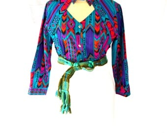 Vibrant Bright Colored Vintage Navajo Print Top