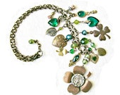 Luck & Love - assemblage statement necklace lucky four leaf clover shamrock heart locket rhinestone pearl antique button ooak jewelry