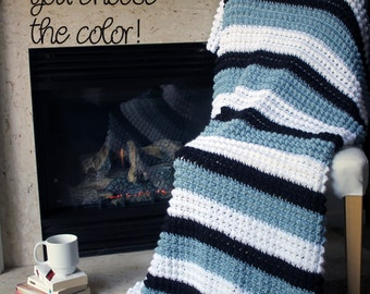 Bobble Afghan Throw Blanket Crochet - Striped Light Country Blue, White, and Black - Made To Order