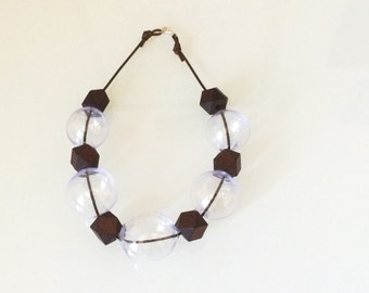 Statement lilac bubble glass and wood necklace