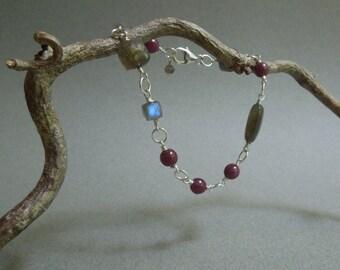 Ruby and Labradorite Gemstone Bohemian Bracelet- Sterling Silver- July Birthstone