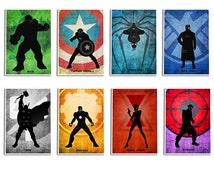 Superheroes Poster Set, .Avengers8 Minimalist Poster Set, Captain America, Hulk, Iron man, spider man,Thor, Movie Poster, Art Print