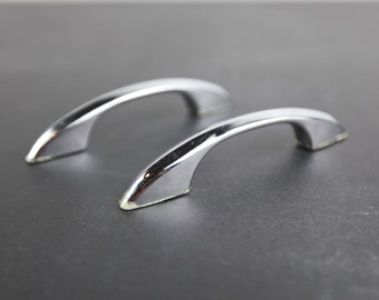 Vintage Chrome Plated, Curved Handles for cabinets / drawers (set of 2)