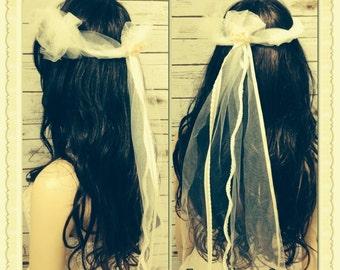 Gypsy Bride Ivory Tulle Wreath Hairpiece Veil