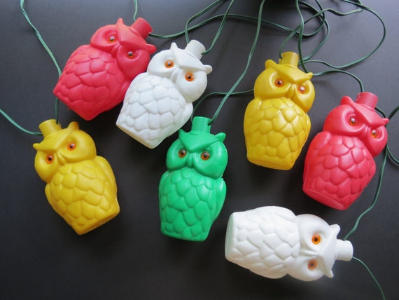 Vintage Owl Patio Lights Blow Mold Retro Plastic String