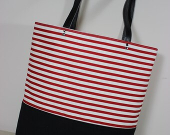 Red and White Striped Slender Canvas Tote Handbag  with Black Canvas Bottom and Black Faux Leather Straps