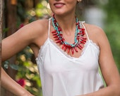 The chilli pepper statement bib necklace, blue howlite turquoise stones, bright red coral, coral tooth, chunky design necklace everyday wear