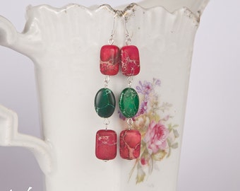 Colorful summer long sterling silver earrings with beautiful jasper green and fuchsia pink stones, long summer color earrings, everyday wear