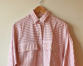 Sale! 90s Red and White Striped Shirt Mens Medium