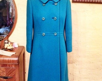Bright Turquoise Blue Heavy Wool Coat Mod Tailored 60s Casual Corner S / M