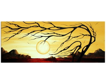 Contemporary Tree Art 'Golden Harmony' Modern Landscape Painting Metal Giclée, Red Gold Warm Tones Abstract Sunset Artwork - Megan Duncanson