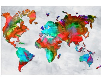 Colorful World Map Art 'Beauty of Color v2.5' Rainbow Map Artwork, Abstract Earth Global Art, Modern Metal Painting Giclée - Megan Duncanson