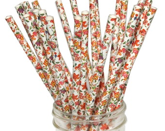 Cream Floral Pattern Paper Straws, 25 Pack