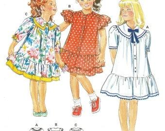 Little Girls' Ruffly, Drop-Waist Dress Pattern - Size 4,6, 8, 10 - Burda 5179 uncut