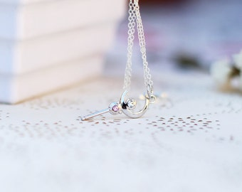 Sailor Moon crescent WAND, tiny moon stick necklace made with solid Sterling 925 silver