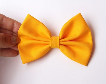 Emery Hair Bow - Golden Yellow Solid Color Hair Bow with Clip
