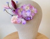 Woodsy Purple Hydrangea Hair Clip - Rustic Weddings Bridal - READY TO SHIP