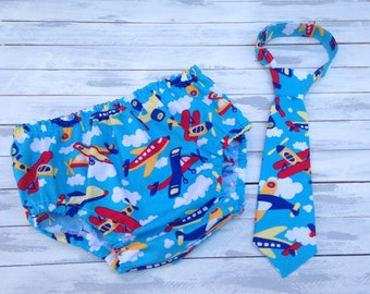 baby boy airplane cake smash oufit -1st birthday set -diaper cover and tie set - plane birthday - red blue yellow birthday - photo prop
