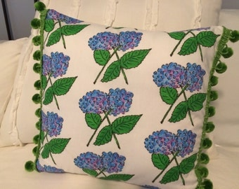 Watercolor hydrangea pillow