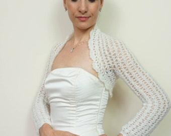 Lace Wedding Bridal Bolero / Ivory Wedding Shrug / Lace Wedding Bolero Jacket / Ivory Crochet Bolero Shrug / Bridal Shrug S M L