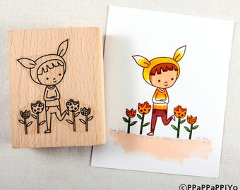 Boy in the grass Rubber Stamp