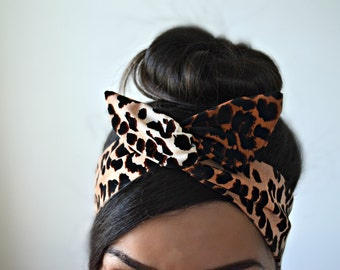 Leopard Bow, Leopard head bands, dolly bow headband , Chic Head wrap, A1