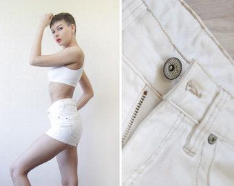 High waist white denim cut off jeans mini shorts XS-S