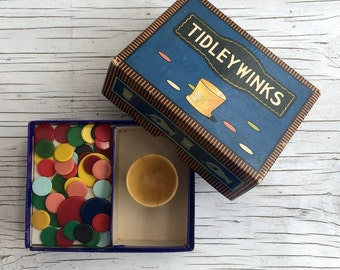 Vintage Chad Valley Tidleywinks. Vintage game. Treen shaker and colourful counters.