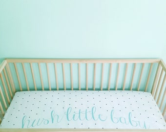 Crib Sheet Aqua Hush Little Baby. Fitted Crib Sheet. Baby Bedding. Crib Bedding. Minky Crib Sheet. Crib Sheets. Polka Dot Crib Sheet.