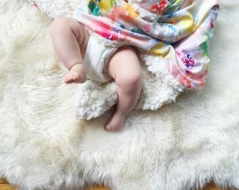 Baby Blanket Watercolor Flowers. The Cloud Blanket. Faux Fur Baby Blanket. Minky Baby Blanket. Floral Baby Blanket.
