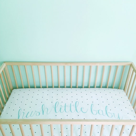 Crib Sheet Aqua Hush Little Baby Fitted Crib Sheet By