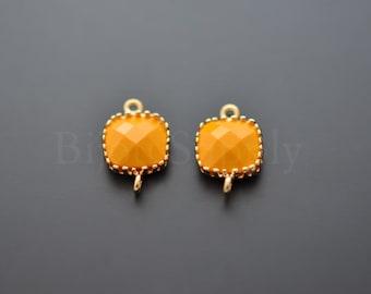 2pcs - (Mustard) Gold Framed Square Glass Pendant (B0229G) - Glass pendant, Mustard earrings making,Glass Link,Charm necklace,Square pendant