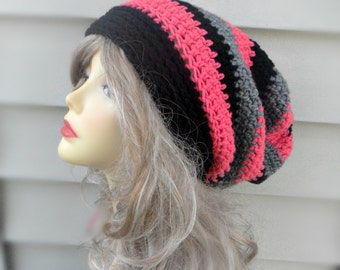 Pink Slouch Beanie, Crochet Slouchy Hat, Womens Hat, Winter Accessories, Hair Accessories, Womens Beanie