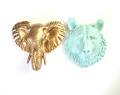 Set of 2 Any animal Any color wall mount faux taxidermy wall hanging nursery decor office decor kids room wall hanging home decor