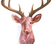 LITE BRONZE XL Faux Taxidermy Deer Head wall mount decor in light bronze with natural-looking antlers stag nursery kids room office decor