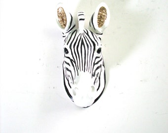 Custom painted ANY COLOR or color combination Small Faux Taxidermy Zebra head wall mount wall hanging nursery office unique gift