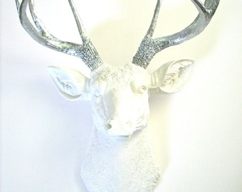 GLOSSY WHITE with silver antlers Faux Taxidermy Deer Head animal head wall mount wall hanging //nursery decor //office decor //chic //