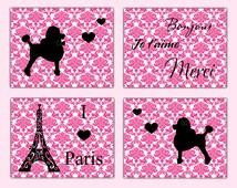 PARIS DECOR BEDROOM Wall Art Prints Pink Damask French Poodle Girl Room Baby Nursery Childrens Kids Eiffel Tower Ooh La La Shower Gift