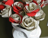 12 Single Vintage Book Page and Red Paper Rose Stems