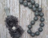 Girls Chunky Bead Bubblegum Gray Necklace Bracelet Headband Set