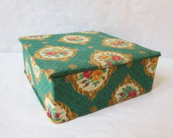 Vintage french sewing box, 1940s, Fabric covered jewelry stocking box, Boite couture bijoux tissu, France