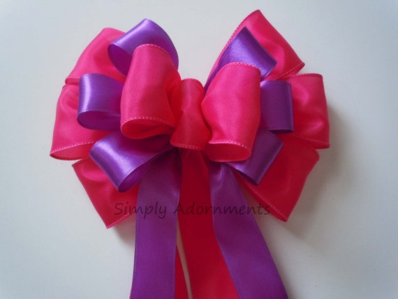 Purple Pink Birthday Decor Baby Shower Wedding Pew Bow Fuschia Purple Church Aisle Pew Bow Bridal Shower Party Decor - Four Colors choices