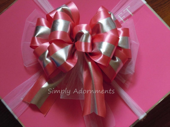 Pink Silver Wreath Bow Rose Pink Silver Christmas Decoration Pink Silver Wedding Pew Bow Bridal Shower Baby Shower Decor Pink Birthday Decor