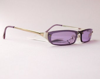Authentic Vintage 2000s Purple Lens Sunglasses/ Squared Shades w Silver Tone Frame - NOS Dead Stock Steampunk /Grunge/Rave