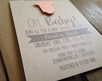 Oh BABY - Baby Shower Invitation - Onesie - CUSTOM - Girl - Boy - Gender Neutral - Recycled - Eco Friendly
