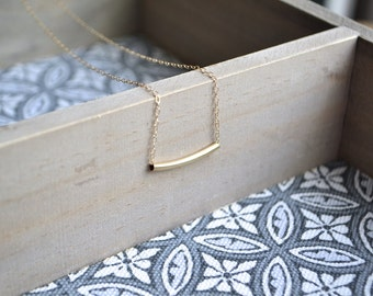 Gold Bar Necklace | 14K Gold Necklace, Simple Necklace, Minimalist Necklace, Delicate Necklace, Geometric Jewelry
