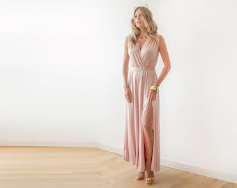 Pink wrap maxi gown, Dress with wide skirt , Pink sleeveless gown 1058