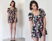 80's Black floral rose sweetheart neckline romper